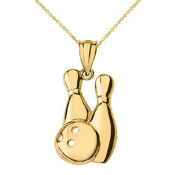 Solid 10k Yellow Gold Bowling Pins 3 Hole Ball Pendant Necklace