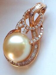 Rare 15mm Golden South Sea Pearl And Diamond Pendant 18ct Rose Gold Val 10,410