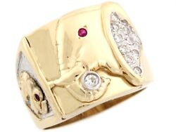 10k Or 14k Two Tone Real Solid Gold White Cz Good Luck Elephant Mens Ring