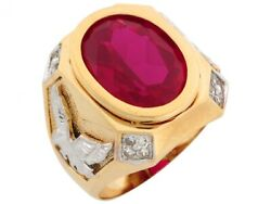 10k Or 14k Two Tone Gold Simulated Ruby Eagle Accents July Birthstone Mens Ring
