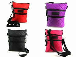 Ladies Light Weight Crossbody Over Body Bag Nylon Handbag Quilted 4 Zips Tablet $12.54