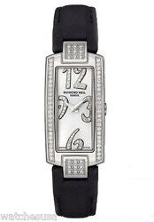 Raymond Weil Women's Shine Silver Dial Black Leather Band Watch 1500-st2-05383