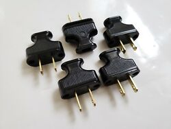 5 PACK Vintage Black Antique Style Electrical Plug Cloth Covered Wire Lamp Cord