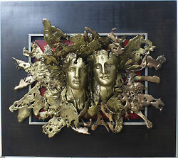 Alexander And Olympias Framed Wall Sculpture Bronze Hanging Figurines In Relief