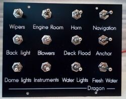 Custom Marine, Boat Switch Panel Nickle Steel 4,8,12 Toggle Switches