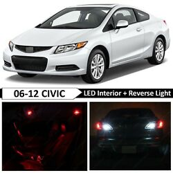 10x Red Interior Reverse LED Light Package Kit Fit 2006-2012 Honda Civic Coupe