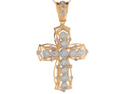 10k Or 14k Yellow Gold Round White Cz Intricate Hip Hop Religious Cross Pendant