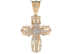 10k Or 14k Yellow Gold White Cz Intricate Two Layer Religious Cross Big Pendant