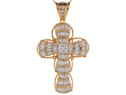 10k Or 14k Solid Gold Cluster White Cz Hip-hop Intricate Religious Cross Pendant