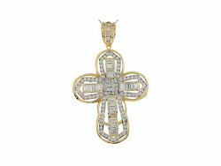 10k Or 14k Yellow Gold White Cz Large 3d Religious Passion Cross Heavy Pendant