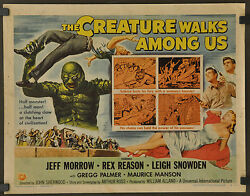 THE CREATURE WALKS AMONG US 1956 ORIGINAL 22X28 MOVIE POSTER JEFF MORROW