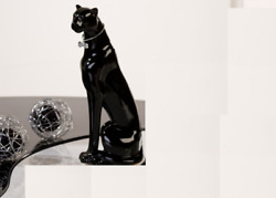 Panther statue black ceramic SITTING model. Height 78 inches