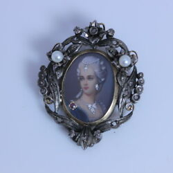 Sterling Silver And 12k Gold With Pearl And Diamond Marie Antoinette Pin 1.75- 934