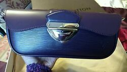 Louis Vuitton Rare Dark-Purple Epi Leather Clutch Wristlet Shoulder Bag 100%👜