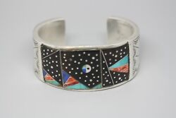 Sterling Silver Native American Navajo Enamel Turquoise Signed Cuff Bracelet
