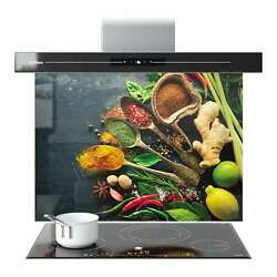 Splashback Glass Kitchen Tile Cooker Panel Any Size Herbs Spices Food 9015