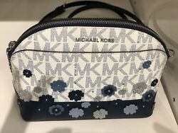 NWT MICHAEL KORS EMMY CROSSBODY BAG FLORAL MK SIGNATURE PVC LEATHER NAVY