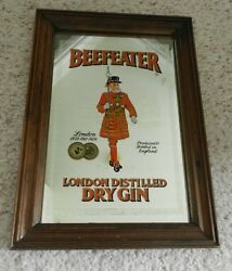 Beefeater London Distilled Gin Mirror Sign 7.5 X 11.5 In Wood Frame