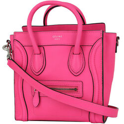 Auth CELINE Nano shopper Luggage Neon pink Handbag Shoulder bag Tote bag Women