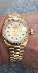 Ladies 18k President Rolex factory diamond and ruby 6