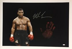 Mike Tyson Original Hand Print Unstretched 20x36 Canvas Signed Jsa 1 Wp276794