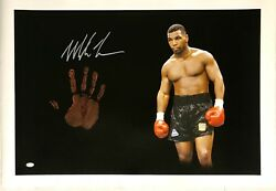 Mike Tyson Original Hand Print Unstretched 20x36 Canvas Signed Jsa 4 Wp276714