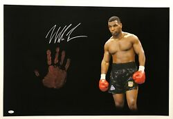 Mike Tyson Original Hand Print Unstretched 20x36 Canvas Signed Jsa 4 Wp276717