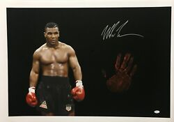 Mike Tyson Original Hand Print Unstretched 20x36 Canvas Signed Jsa 1 Wp276796