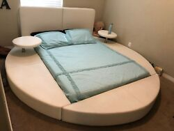 White Leather Queen Size Round Bed Frame With Tables
