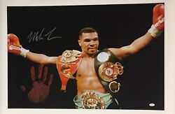 Mike Tyson Original Hand Print Unstretched 20x36 Canvas Signed Jsa Wp276760 3