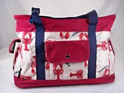 Tommy Bahama Insulted Travel Cooler Bag Tote Beach Lobster Canvas Red
