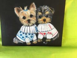TWO YORKIE PUPPIES DRESSED UP HAND PAINTED ORIGINAL!