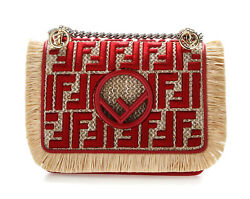 FENDI KAN I FF LOGO SMALL FRINGED RAFFIA RED LEATHER MINI-BAG 8BT286A23Q F07P