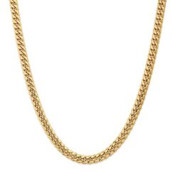 14k Yellow Gold 7.30mm Semi-solid Miami Cuban Link Chain Necklace Msrp 0