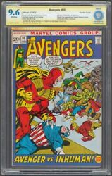 Avengers 95 Double Cover Cbcs 9.6 Asp Signed By Neal Adams 1972 Inhumans Marvel