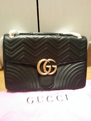 New Gucci Marmont Giant black leather bag with tags and dust bag