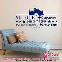 Walt Disney quot;All our Dreamsquot; Inspirational quote wall Nursery decor home decor