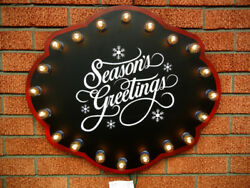 Vintage Style Metal Season's Greetings Lighted Christmas Sign Indoor Or Outdoor