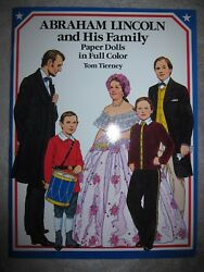 Vtg Paper Doll Book, Abraham Lincoln And His Family By Tom Tierney, 1989