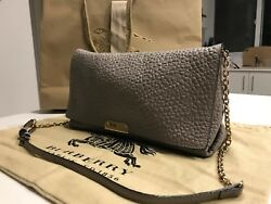 Burberry Medium Signature Pale Grey Leather Clutch Women's Bag with Receipt