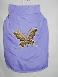 Sm-med Pet Xlxxl Size Lavender Puffer Vest With Gold Butterfly Applique