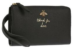 NEW GUCCI BLIND FOR LOVE BLACK LEATHER BEE WRISTLET CLUTCH WALLET BAG WBOX