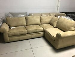 Pottery Barn Pearce Couch Oat Everyday Suede Round Arm Sectional Sofa 112x81