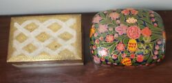 Set Of 2 Small Wooden Boxes Decor Antique