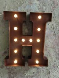Led Light Carnival Circus Rust Metal Letter H - Wall Or Free Standing 13inch