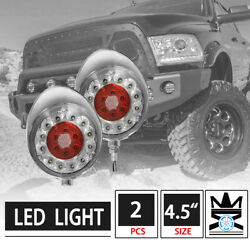 2pcs 4.5 Round Off-road Clear Lens Red Led Work Fog Lights W/ Chrome Cover
