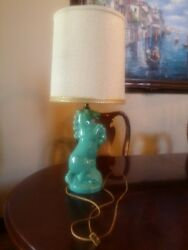 Vintage Ceramic Pottery Table Desk Lamp Mid Century Modern Retro Horse And Shade