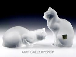 Lalique France Crystal Large Cat Figurines CHAT ASSIS & CROUCHING CHAT COUCHE