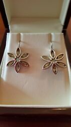 Slane Fenestra Marquise Cluster French Wire Earrings, Olive Quartz