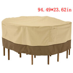 94 Waterproof Round Patio Set Cover Large Outdoor Table Chair Furniture Cover